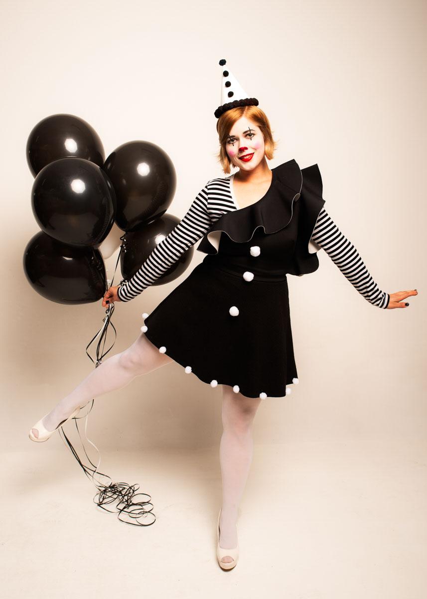 Model Tamsin Jean Pemberton as clown